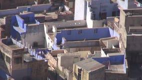 Opinión azul de Jodphur de la ciudad en la India almacen de metraje de vídeo