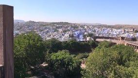 Opinión azul de Jodphur de la ciudad en Rajasthán, la India almacen de video