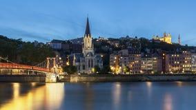 Opinión azul panorámica de la hora de Lyon con el río Saone Imagen de archivo libre de regalías