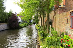 Opinión Bélgica del canal de Brujas Imágenes de archivo libres de regalías