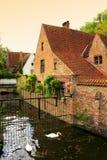 Opinión Bélgica del canal de Brujas Foto de archivo