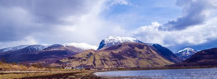 Opinión Ben Nevis Range en Fort William en las montañas de Escocia Fotos de archivo libres de regalías