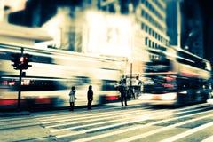 Opinión borrosa paisaje urbano abstracto de la noche Hon Kong fotografía de archivo libre de regalías