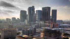opinión brumosa de 4K UltraHD del centro de ciudad de Los Ángeles almacen de video