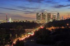 Opinión céntrica hermosa de la puesta del sol de Los Ángeles Imágenes de archivo libres de regalías