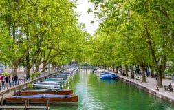 Opinión Canal du Vasse en Annecy, Francia Fotos de archivo libres de regalías