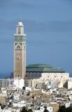 Opinión Casablanca Marruecos del paisaje urbano de la mezquita de Hassan II Imagen de archivo