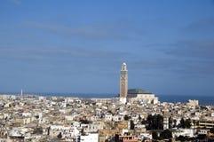 Opinión Casablanca Marruecos del paisaje urbano de la mezquita de Hassan II Imágenes de archivo libres de regalías