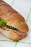 Opinión cercana sobre el bocadillo con el jamón y la ensalada en un mantel verde Fotografía de archivo libre de regalías