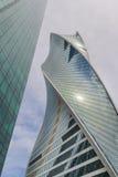 Opinión cercana sobre torre de la evolución en la ciudad compleja de Moscú del negocio Fotografía de archivo libre de regalías
