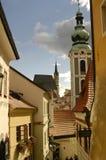 Opinión checa de la catedral de Krumlov Imagen de archivo libre de regalías