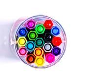 Opinión colorida de los rotuladores isolated.top Imagen de archivo libre de regalías