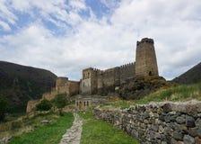 Opinión común de la trayectoria del castillo de Khertvisi imagen de archivo