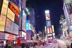 Opinión cuadrada de la calle de la noche de New York Times Fotos de archivo libres de regalías