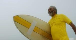 Opinión de ángulo bajo el hombre afroamericano mayor activo con la tabla hawaiana que camina en la playa 4k metrajes