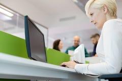 Opinión de ángulo bajo la empresaria madura que usa el ordenador con los colegas en fondo en la oficina fotografía de archivo libre de regalías