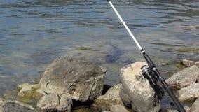 Opinión de ángulo bajo de la pesca del hombre con la caña