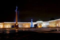 Opinión de Año Nuevo de la noche del cuadrado del palacio Fotografía de archivo