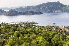 Opinión de alto ángulo de Selimiye Selimiye es un pueblo cerca de Marmaris Imagenes de archivo