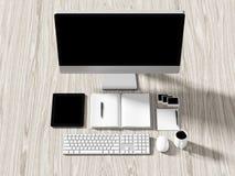 Opinión de alto ángulo de una tabla del ajuste de lugar de trabajo del negocio Imagenes de archivo