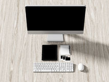 Opinión de alto ángulo de una tabla del ajuste de lugar de trabajo del negocio Fotos de archivo