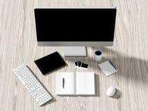 Opinión de alto ángulo de una tabla del ajuste de lugar de trabajo del negocio Imagen de archivo