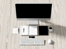 Opinión de alto ángulo de una tabla del ajuste de lugar de trabajo del negocio Fotografía de archivo libre de regalías