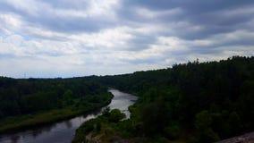 Opinión de alto ángulo del río que fluye tranquilo rodeado por los bosques verdes enormes debajo del cielo cubierto nublado con c metrajes