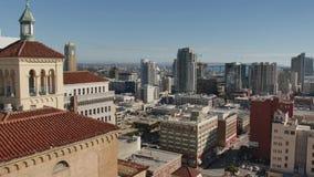 Opinión de alto ángulo diurna San Diego Skyline metrajes