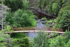 Opinión de alto ángulo hacia una pasarela que cruza un rive imagenes de archivo