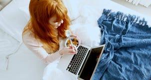 Opinión de alto ángulo la mujer que usa el ordenador portátil mientras que desayunando 4k almacen de video