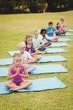 Opinión de alto ángulo los niños que hacen yoga Foto de archivo libre de regalías