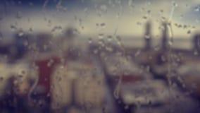 Opinión de alto ángulo San Diego Skyline From Rainy Window almacen de metraje de vídeo