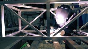 Opinión de aluminio de soldadura de la construcción del trabajador metrajes