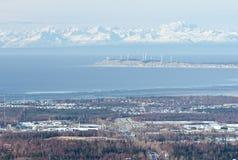 Opinión de Anchorage de la altura Imágenes de archivo libres de regalías