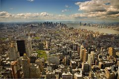 Opinión de Arerial de Manhattan Imágenes de archivo libres de regalías