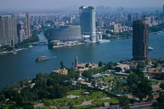 Opinión de Ariel de la torre de El Cairo fotos de archivo
