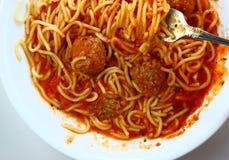 Opinión de arriba del espagueti foto de archivo