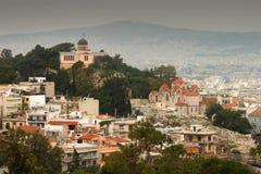 Opinión de Atenas Imagen de archivo libre de regalías