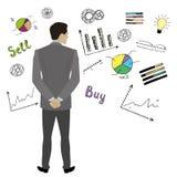 Opinión de Back del hombre de negocios que se opone a bosquejo del negocio del garabato stock de ilustración