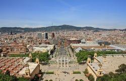 Opinión de Barcelona de Montjuic Foto de archivo libre de regalías