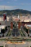 Opinión de Barcelona/de Plaza de Espana Fotografía de archivo libre de regalías