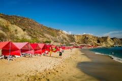Opinión de Beautful de la playa del Blanca de Playa en Santa Marta Fotos de archivo libres de regalías