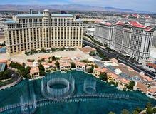Opinión de Birdseye de los casinos de Bellagio y de Caesars fotos de archivo