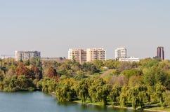 Opinión de Bucarest en último Autumn October Imagen de archivo libre de regalías