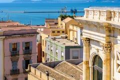 Opinión de Cagliari de Bastione San Remy Fotografía de archivo