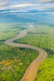 Opinión de campo del río y de arroz de Winyaw de la ventana del aeroplano en Fotos de archivo