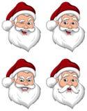 Opinión de cara mayor de las diversas expresiones de Papá Noel Imagenes de archivo