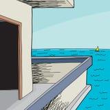 Opinión de casa de playa del mar Imagen de archivo