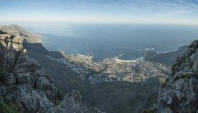 Opinión de Ciudad del Cabo de la montaña de la tabla fotografía de archivo